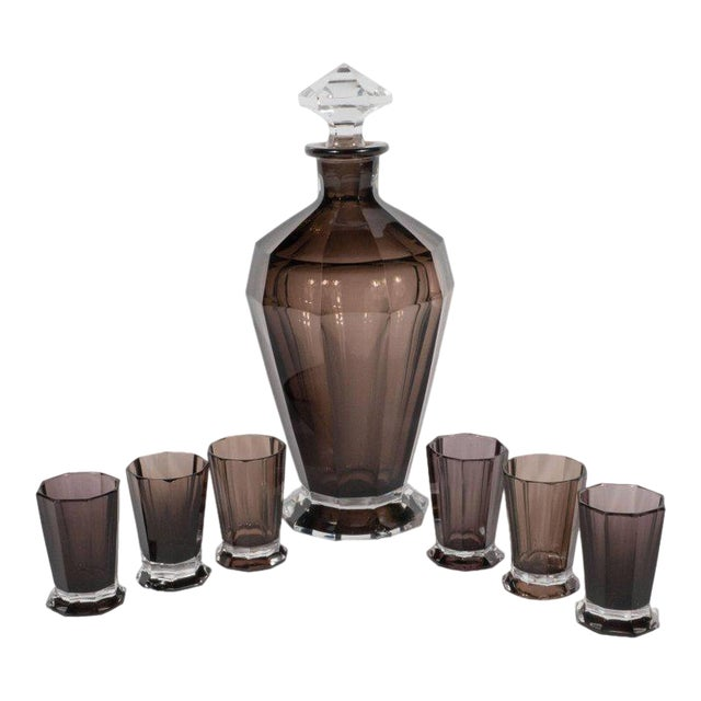 French Art Deco Seven Piece Smoked Glass Bar Set with Decanter and Shot Glasses For Sale