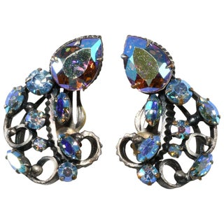 Iridescent Earrings Aurora Borealis Vintage in the Style of Florenza or Mode Art For Sale