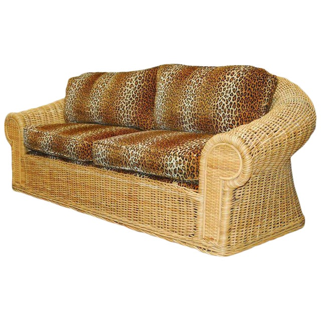 Michael Taylor Inspired Wicker Sofa Scalamandre Style Leopard Upholstery For Sale