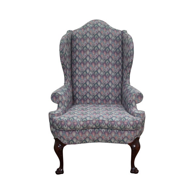 Solid Mahogany Queen Anne Wing Chair by Southwood For Sale