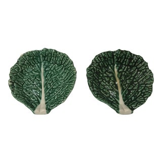 1970s Traditional Secla Majolica Green Cabbage Snack Plates - a Pair