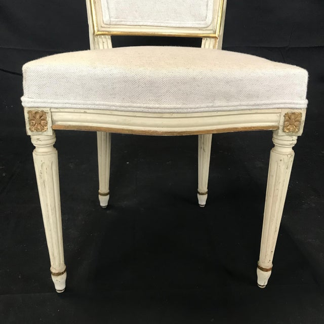 Antique Painted Louis XVI Gustavian Style Dining Chairs -Set of 6 For Sale In Portland, ME - Image 6 of 13