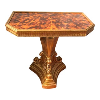 1960s Regency Faux Tortoiseshell Gold Leaf Side Table For Sale