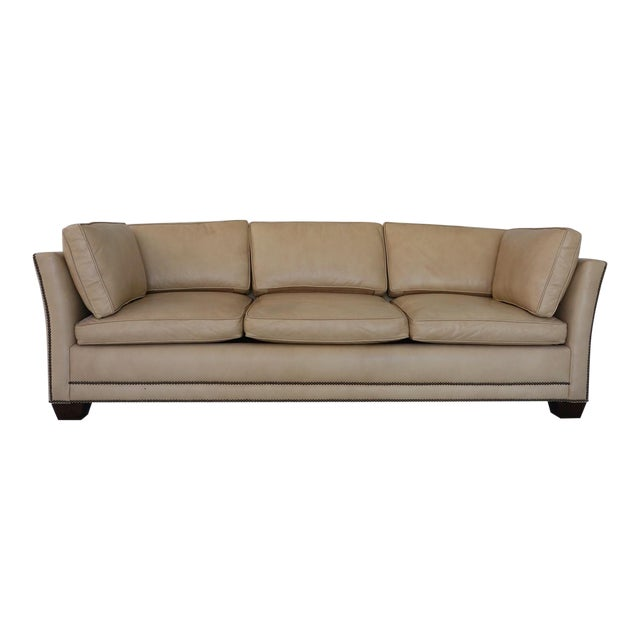 Traditional Light Camel Leather Sleeper Sofa For Sale