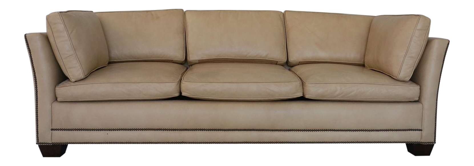 Traditional Light Camel Leather Sleeper Sofa