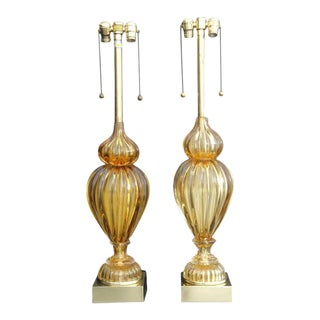 Golden Amber Murano Lamps by Marbro - a Pair For Sale