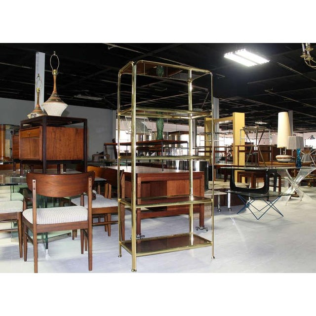 Mid Century Modern Five Tier Brass and Smoked Glass Etagere Shelving Unit For Sale - Image 10 of 10
