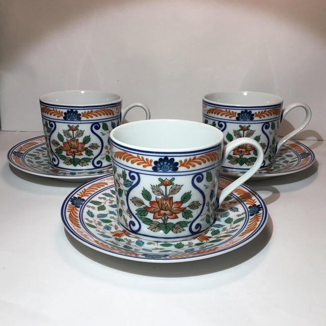 Imari Blossoms Teacups and Saucers by Georges Briard - Service for 3 For Sale - Image 12 of 12