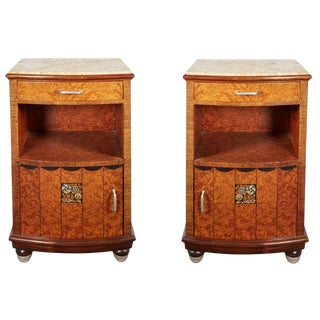 French Art Deco Thuya Wood Night/ Side Tables, Maurice Dufrène - a Pair For Sale