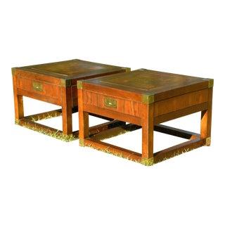 Vintage Campaign End Tables - Set of 2