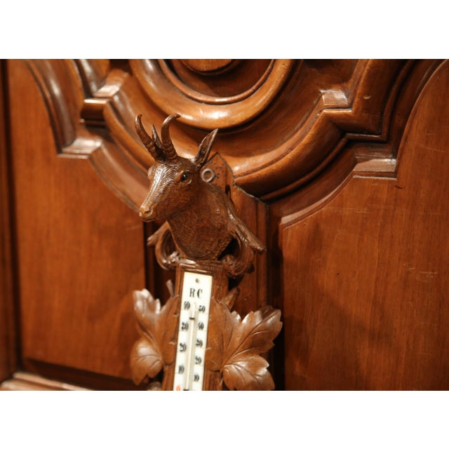 Glass 19th Century French Carved Walnut Black Forest Barometer With Deer and Guns For Sale - Image 7 of 10