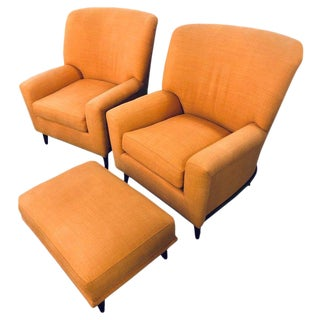 Pair of Art Deco Style A. Schneller & Sons Large Armchairs With Ottoman For Sale