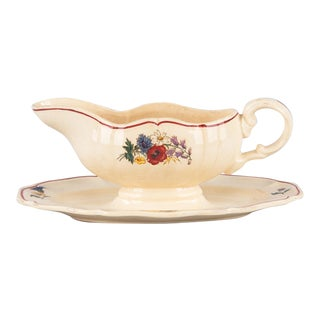Digoin Agreste Ceramic Gravy Boat From France, 1940s For Sale