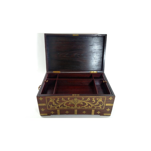 Vintage Brass and Rosewood Indian Chest - Image 5 of 9