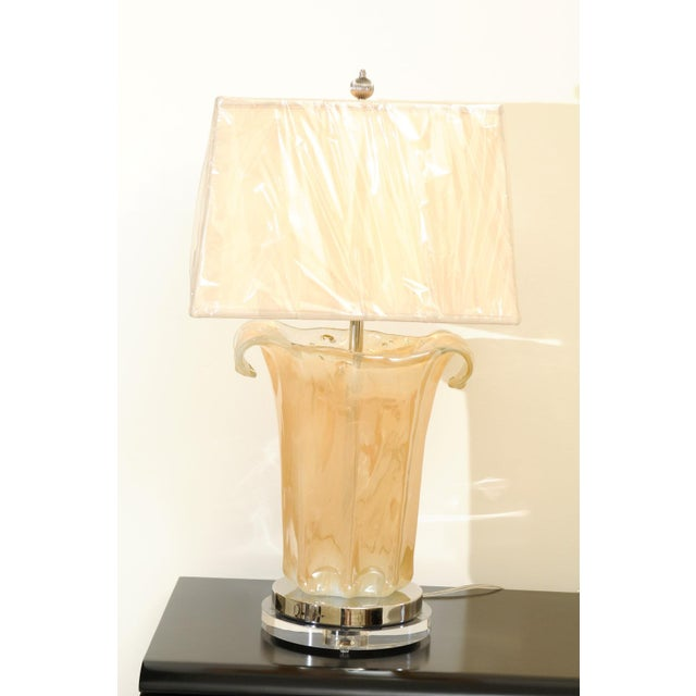Knockout Pair of Large-Scale Blown Murano Vases as Custom Lamps For Sale In Atlanta - Image 6 of 11
