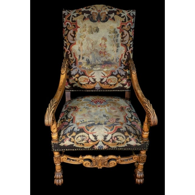 Mid 19th Century Mid 19th Century Antique Carved Needlepoint Armchair For Sale - Image 5 of 5