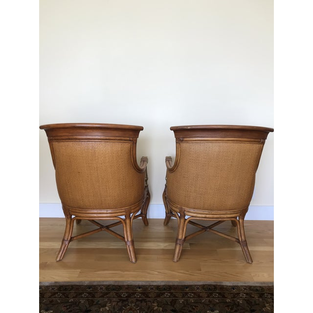 Green Ethan Allen Wicker Rattan Chairs - a Pair For Sale - Image 8 of 13