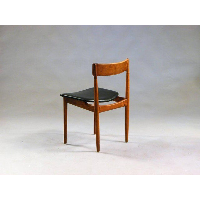 Brande Møbelfabrik 1960s Henry Rosengren Hansen Model 39 Teak & Leather Dining Chairs - Set of 4 For Sale - Image 4 of 9