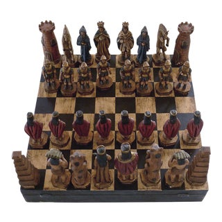 Vintage Mexican Hand-Carved Boxed Chess Set