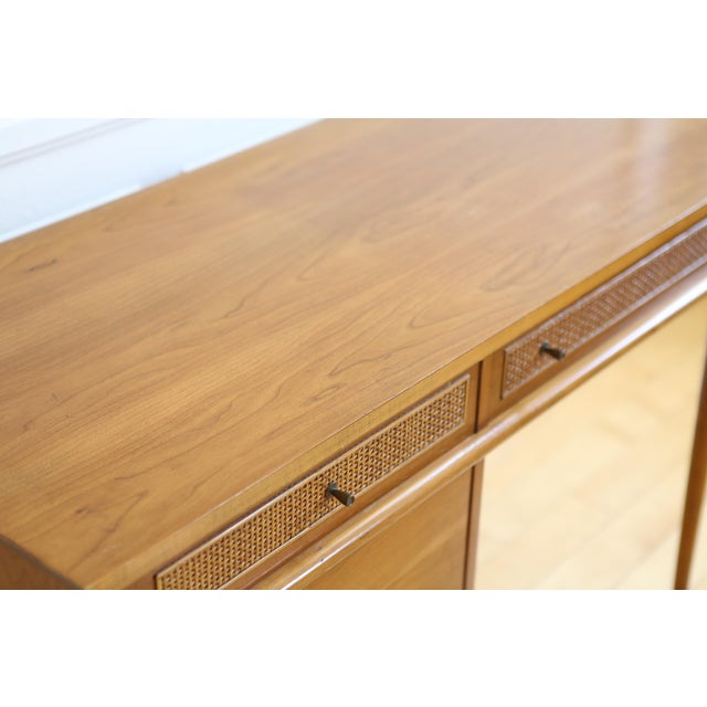 Mid Century Danish Modern Cane Writing Desk For Sale - Image 4 of 9