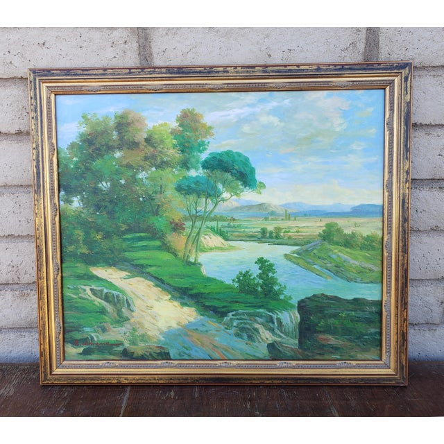 Late 20th Century Original Countryside River Landscape Oil Painting For Sale - Image 12 of 12