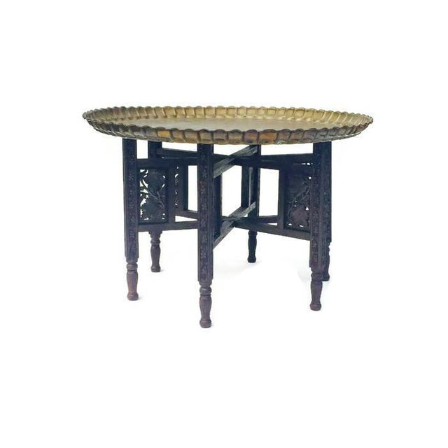 Vintage Moroccan Brass Tray Coffee Table - Image 2 of 7