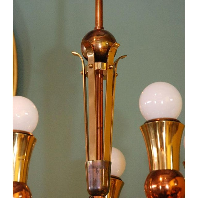 Brass and Copper Chandelier - Image 9 of 10