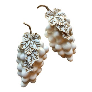 White Ceramic Grapes & Tole Leaves Decorative Pieces - a Pair