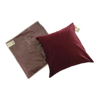 West Elm Luster Velvet Burgundy Accent Pillows - A Pair For Sale