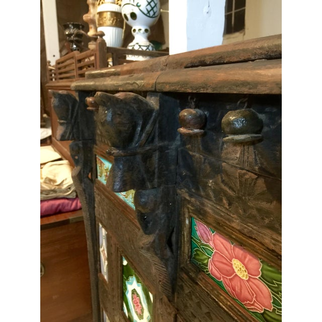 19th Century Asian Antique Tiled Front Dowery Chest For Sale - Image 4 of 6