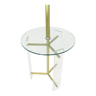 Brass and Lucite Tripod Leg Floor Lamp Glass Side Table For Sale