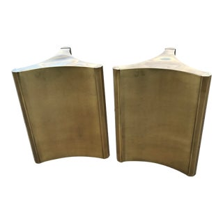 1970s Hollywood Regency Mastercraft Brass Dining Table Pedestals - a Pair For Sale