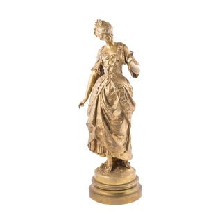 Late 19th Century Vintage Gilt French Bronze Female Figure by August Moreau For Sale