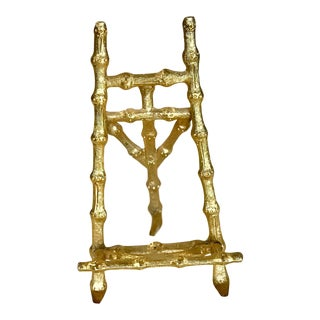 Small Gold-Tone Metal Bamboo Easel For Sale