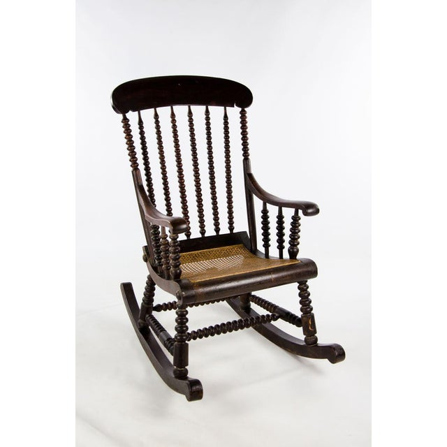 Late 19th Century Vintage Victorian Bobbin Turned and Caned Seat Rocking Chair For Sale - Image 13 of 13
