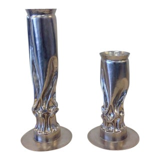 Brutalist Nickel Candle Holders by Thomas Roy Markusen - a Pair For Sale