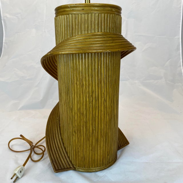 Vintage Gabriella Crespi Style Reeded Rattan Sculptural Table Lamp For Sale In Philadelphia - Image 6 of 13