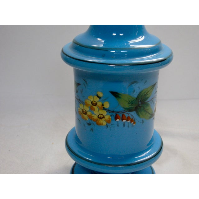 Antique French Hand Painted Blue Opaline Decanter For Sale - Image 5 of 10