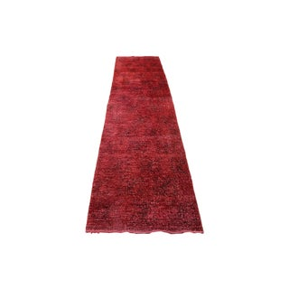 "2'6"" X 11'2"" Red Color Turkish Overydyed Runner For Sale"