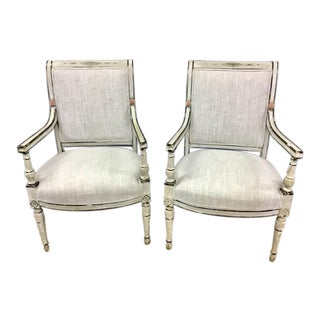 Pair of Italian Neoclassic Painted Armchairs For Sale