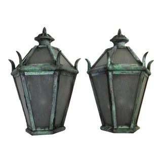 Large Solid Brass Wall Hanging Lanterns - a Pair