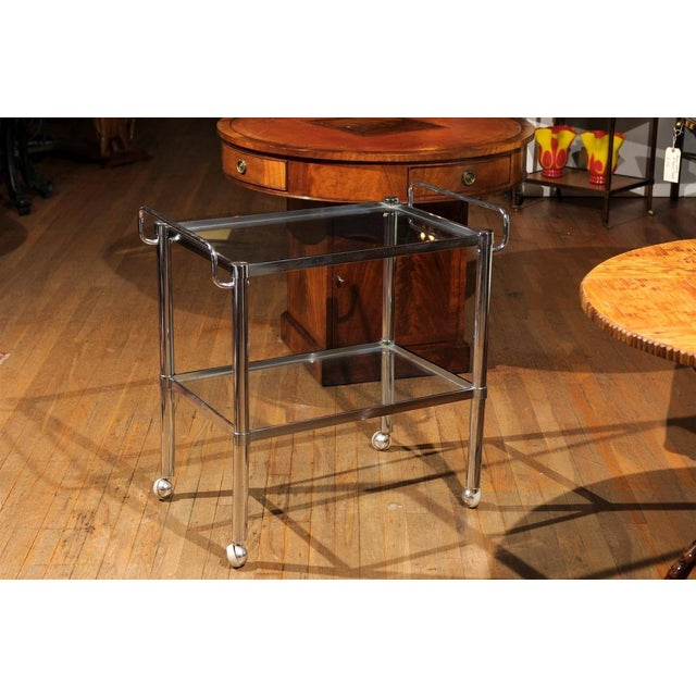 Mid-Century Modern Chrome Two Tier Bar Cart For Sale - Image 3 of 7