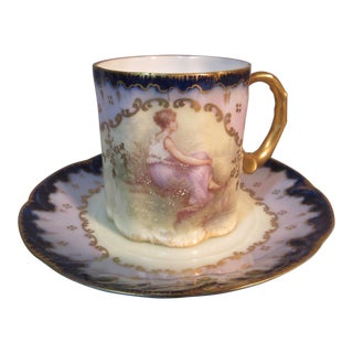 1890s Philip Rosenthal Mon Bijou Chocolate Cup & Saucer For Sale