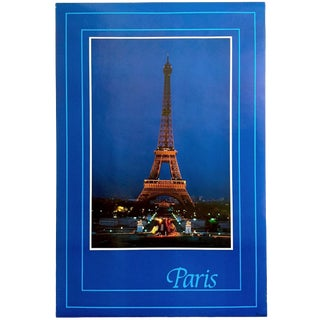"Vintage 1982 Rare "" Paris - Eiffel Tower "" Lithograph Print Collector's France Travel Poster For Sale"