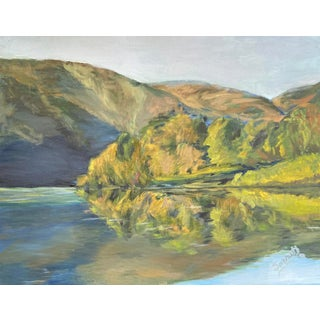 American Painting of Mountain Lake For Sale