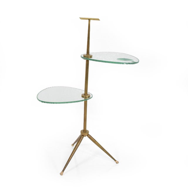 Mid Century Modern Italian Side Table Brass & Glass After Fontana Arte For Sale - Image 11 of 11