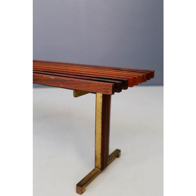 Mid-Century Modern Bench by Carlo Graffi From 1950 in Brass and Walnut Wood For Sale - Image 3 of 8