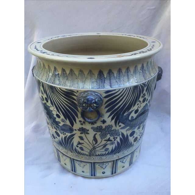 Blue & White Chinese Fish Motif Planter - Image 2 of 10
