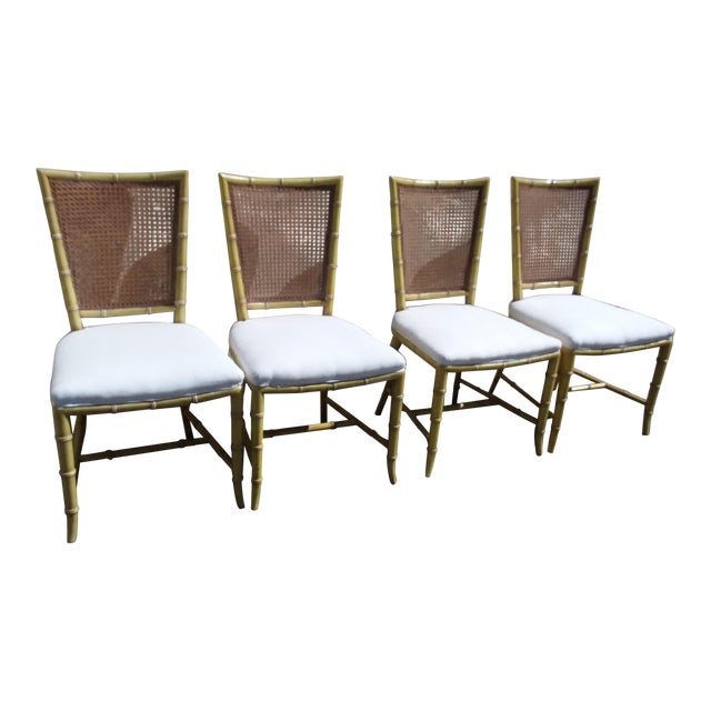 Set of Four Mid Century Modern Faux Bamboo Side Chairs For Sale