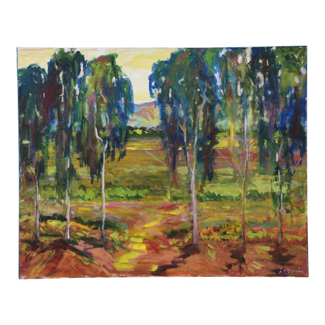 Juan Guzman Plein Air Santa Barbara Eucalyptus Grove Painting For Sale